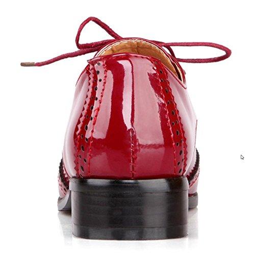 TAOFFEN Scarpe Con Tacco Donne Stringate Claret-6022