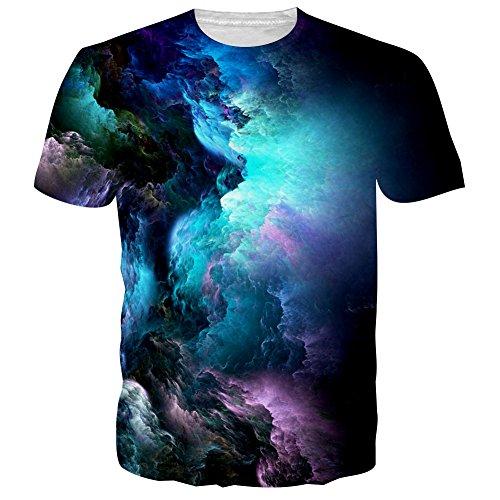 NEWISTAR Unisex 3D Druckten Sommer-Beiläufige Kurze Hülsen-T-Shirts T-Stücke (Galaxy-fußball-hemd)