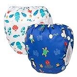HBselect set da 2 Pannolini da Nuoto Regolabili Costumi da Bagno per Bambini Pannolini Impermeabili Riutilizzabili Costumi Piscina Neonato Carini Adatto per 0-36 mesi