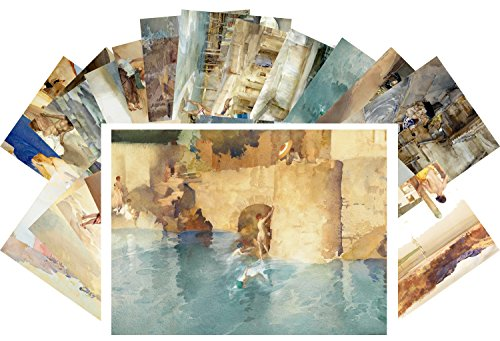 Tarjeta Postale Set 24pcs Antique Bath Nude Girls Vintage Watercolor Painting by William Russell Flint