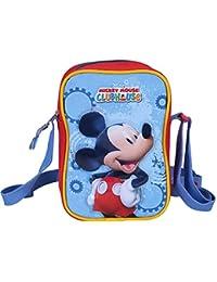 Perletti Kinder Umhängetasche für Jungen mit Motiven aus Mickey Mouse - Kleine Umhänge für Kinder mit Frontverschluss - Rot und Blau Tasche - Micky Maus Wunderhaus 14x19x6cm