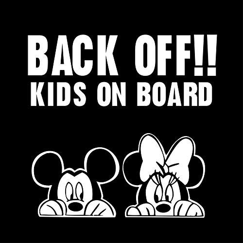 myrockshirt® Aufkleber Back Off! Kids on Board süße Mäuse 17 cm Autoaufkleber Auto Sticker Lack Heckscheibe Baby Bord aus Hochleistungsfolie ohne Hintergrund Profi-Qualität viele Farben zur Auswahl MADE IN GERMANY -