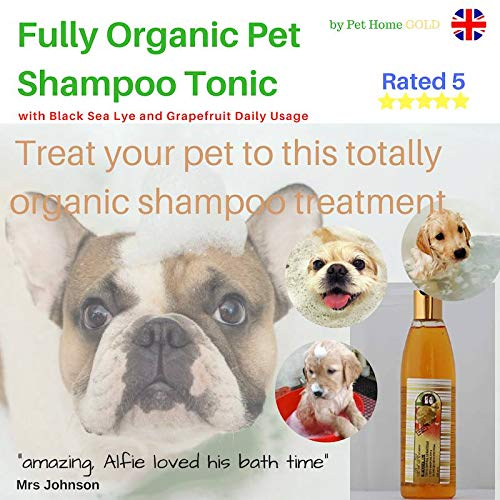 Fully Organic Pet Shampoo Tonic with Black Sea Lye and Grapefruit Daily Usage by Pet Home GOLD