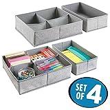 mDesign 4er-Set Schubladen Organizer – Stoff Aufbewahrungssystem für Büroutensilien – Schubladeneinsätze mit je 5 Fächern für Stifte, Haftnotizen, Büroklammern etc. – grau