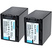 TOOFEY® NP-FV100 Batería 2 Pack para Sony NP-FH100 FV100 DCR-SR15 SR21 SR68 SR88 SX15 SX21 SX44 SX45 SX63 SX65 SX83 SX85 HDR-CX110 CX115 CX130 CX150 CX160 XR160 CX360 CX560 CX700 PJ10 PJ30 PJ50 Cámaras