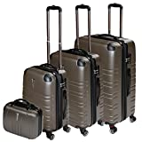 Andreas Dell REISEKOFFER REISEKOFFERSET TROLLEY KOFFER 4 SET XL L M KOFFERSET REISEKOFFER BEAUTY CASE Coffee TSA Schloss
