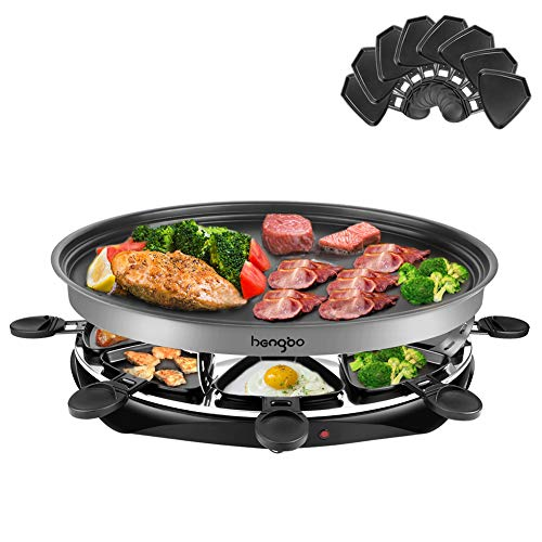 Raclette per 8 Persone Oval Grill Party, Famiglia Party / Campeggio Selvaggio / Festa al Barbecue, Piastra Della Griglia Staccabile, 1500 Watt , Nero