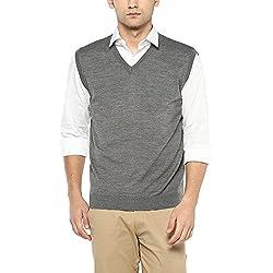 Wills Lifestyle Mens V Neck Slub Sweater_Grey_Medium
