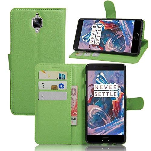 Tasche für OnePlus Three / OnePlus 3T Hülle, Ycloud PU Ledertasche Flip Cover Wallet Case Handyhülle mit Stand Function Credit Card Slots Bookstyle Purse Design grün (3t Grün)