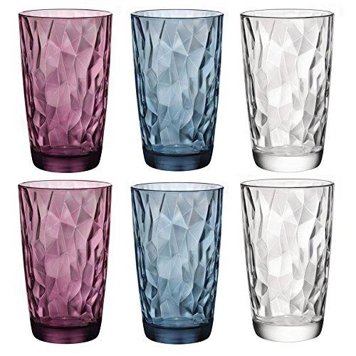 Bormioli Rocco Diamant Farbige Dimpled Cooler Glasses - 470ml - Set aus 6