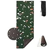 Non Slip Yoga Mat Green Mushroom Premium Printed 24 X 71 Inches Great for Exercise Pilates Gymnastics Carrying Strap