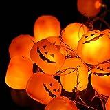 Striscia da 3.8m con 16 Luci LED a Forma di Zucche Alimentate a Batteria per Decorazioni di Halloween da Pingenaneer