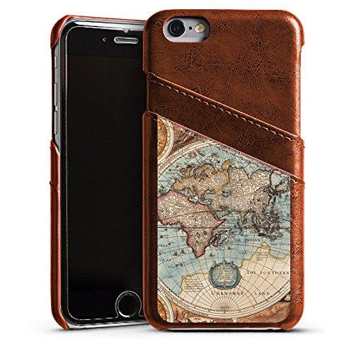 Apple iPhone 5c Housse Étui Protection Coque Carte du monde ancienne Carte Carte Étui en cuir marron