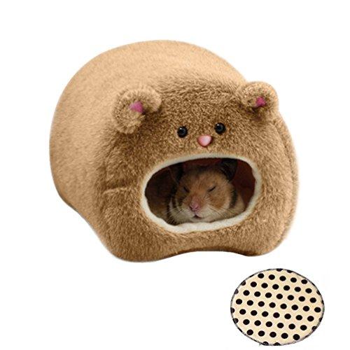 Emours Warmes Haustierbett / Hängehöhle für nicht ausgewachsene, kleine Pelztiere, für Ratten/Hamster, Fleece, zum Aufhängen, süßes Teddy-Design, mit Schlafeinlage (Bear Hamster Teddy)