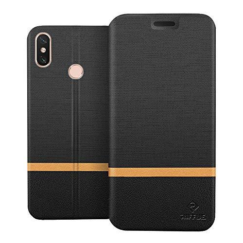 RIFFUE Funda Xiaomi Mi MAX 3, Carcasa Delgada Libro de Cuero con Tapa Cartera de Ranura y Billetera Elegante Case Cover para Xiaomi Mi MAX 3 - Negro