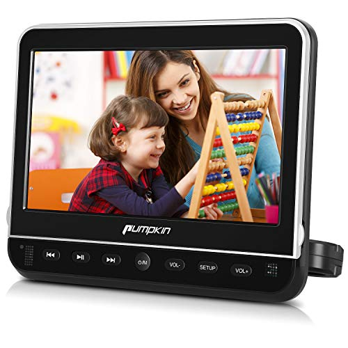 Pumpkin Lecteur DVD Voiture Ecran d'appui tête pour Enfant 10,1 Pouce Supporte HDMI Input Région Libre Émetteurs FM et IR intégrés USB SD