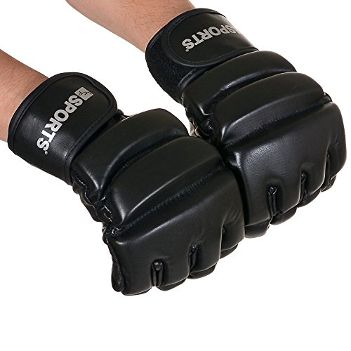 LCP Boxhandschuhe MMA UFC Kampfsport Taekwandoo Grapling Sparring Boxsack Punching Material Arts PROFI Eco Leder schwarz Größe L (Boxhandschuh Schweiß)
