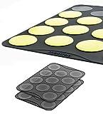 Backmatten 2er Set aus Silikon für große Macarons, Grau, 2 x 11 Vertiefungen 6,3 cm, Größe 30 x 20 cm
