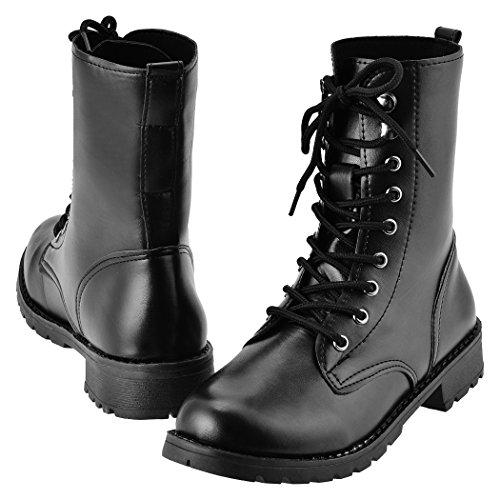 MEXI Frauen schn¨¹ren sich oben kurze Aufladungs Schuhe Schwarz