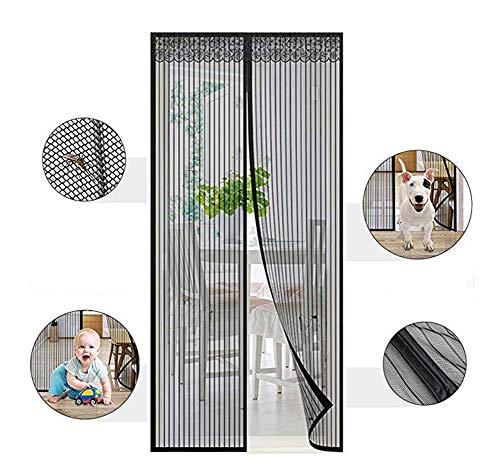 ZGQ Magnet-Tür für französische Türen, Schwarz magnetischer Netz-Vorhang mit strapazierfähigem Schutz gegen Insekten und Moskitos,60x80in/150x200CM (60 X 80 Französisch Terrassentüren)