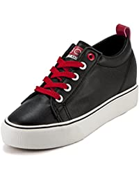 DeVEE Women's RBO Synthetic Leather Black-Red Platform Sneaker Shoe