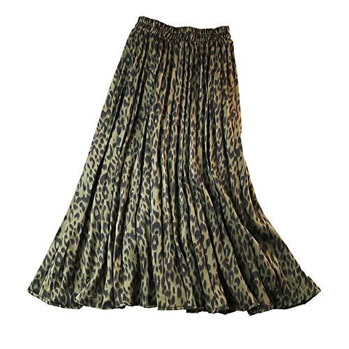 osmanthusFrag Women Elastic Waist Pleated Full Long Skirt Maxi Leopard Print - Green One Size