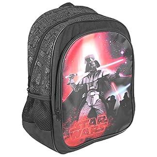 51zURR8k1NL. SS324  - PERLETTI - Mochila Niño Star Wars - Bolso Escolar con Bolsillo Frontal Estampado de Darth Vader - Bolsa Chico Joven Escuela Guarderia Viaje - Negro - 42x28x12 cm