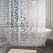 Kuber Industries® 0.20mm PVC Shower Transparent Curtain in 3D Coin Design (Width-54 Inches X Height-108 Inches
