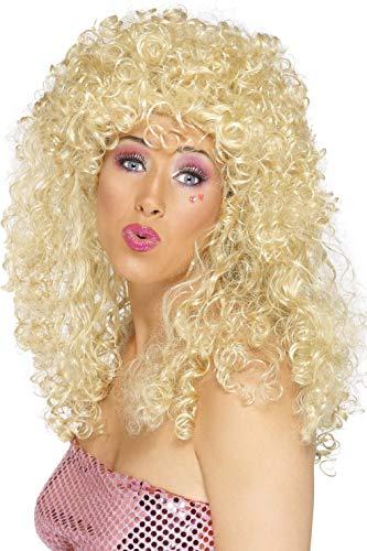 Smiffys Damen Lange Dauerwelle Perücke, Boogie Babe Perücke, Blond, One Size, - Kostüm Locken Perücke