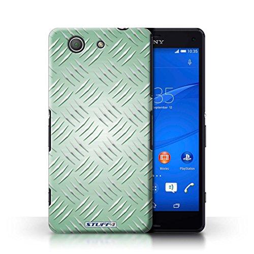 Kobalt® Imprimé Etui / Coque pour Sony Xperia Z3 Compact / Argent conception / Série Motif en Métal en Relief Vert