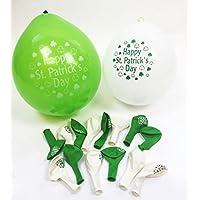 Happy St Patricks Day Latex White Green Balloons 16 Pk Party Decoration Shamrock