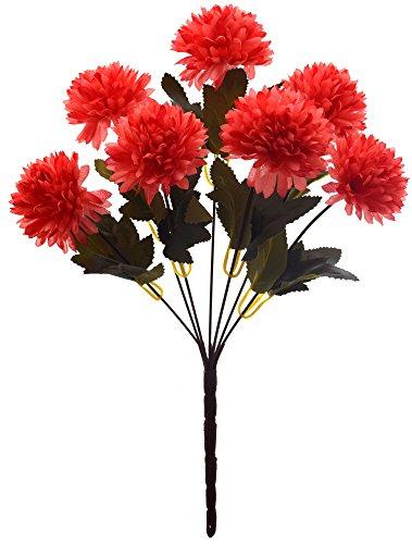 Fourwalls Chrysanthemum Ball Flower Bouquet (49 cm, Dark Pink, 7 Branches)