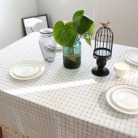 Qingv Blau auf Weiß karierten Mediterranen Esstisch und frischen Kaffee und Coffee shop Handtuch Kanten Abdeckung Baumwolle Tischdecken, Tischdecken, 140 * 180