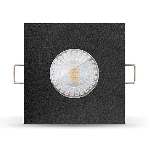 5 x Led Bad Feuchtraumleuchte von Ledox IP65 inkl. Einbaurahmen schwarz 230V 7W GU10 3000k warmweiß (5er Set)