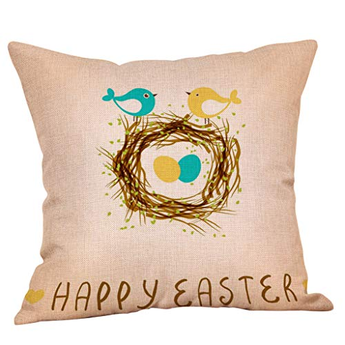 Osterdeko,Riou Osterdekoration Kissenbezuge Kissenhülle Lindt Osterhase Ostereier Dekokissen Fall Throw Pillow Covers Bettwäsche Für Autos Sofa Startseite Easter Dekorative (H, 45cmX45cm)