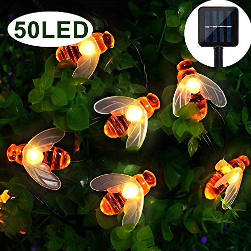Garten Solar Lichterkette, LED Bee Garden Fairy Light, 7.5M / 50 Licht wasserdicht Outdoor/Indoor Solar dekorative Beleuchtung Haus, Hof, Party, Weihnachten, Dekoration (warmweiß)