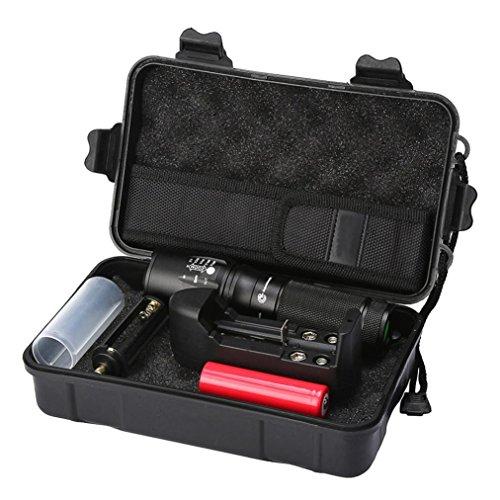 Taschenlampen-Set, HARRYSTORE 5000LM Zoomable LED 5 Modus Super-helle Justierbare Fokus Taktische Polizei Taschenlampe + 18650 Wiederaufladbare Batterie + Aufladeeinheit + Fall