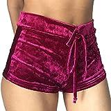 Da.Wa Damen hohe Taille weichen Bodycon Hose Freizeit Shorts ,Rose,S