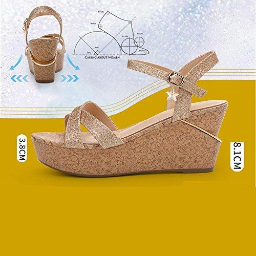 Estate Sandali 8.1 cm sandali femminili Summer Student Sandali semplici con tacco alto (Oro / Argento) Colore / formato facoltativo Silver