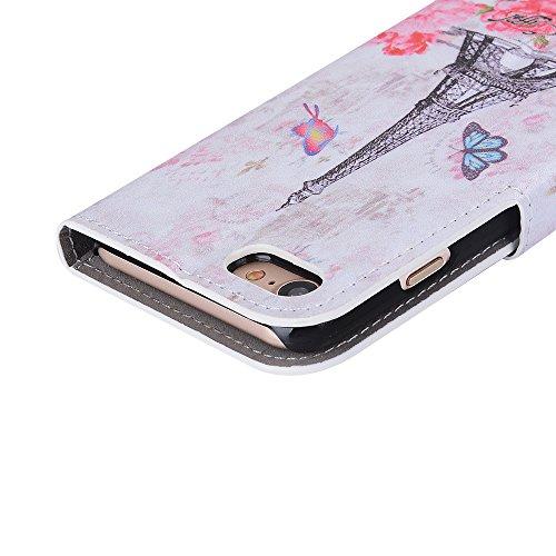 Voguecase Pour Apple iPhone 7 4,7 Coque, Étui en cuir synthétique chic avec fonction support pratique pour iPhone 7 4,7 (Grille irrégulière-Noir)de Gratuit stylet l'écran aléatoire universelle papillon et de la tour 02