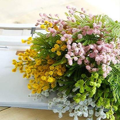 QYYDGH Retro Elegante Hermoso Flores Artificiales Manojos Acacia Novia Holding Bouquet Fluffy Plástico Helecho Planta Falsa Hogar Sala de Estar Decoración de la Mesa