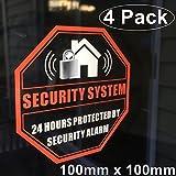 Frontal autoadhesivo vinilo transparente exterior/interior (4unidades) 100mm x 100mm negocio en casa sistema de alarma antirrobo de seguridad ventana puerta alerta de advertencia Sticker Adhesivos
