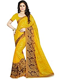 Ishin Faux Georgette Yellow Floral Design Printed Party Wear Wedding Wear Casual Wear Festive Wear Bollywood New...