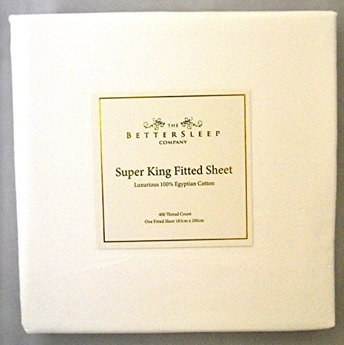 The Bettersleep Company Superior Boutique Hotel Quality 400 Thread Count 100% Egyptian Cotton Fitted Sheet Superking Size Bed. Luxurious Sateen Finish-White by The Bettersleep Company -