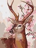 OBELLA Malen nach Zahlen Kits    Peach Blossom Hirsch Pfirsich Hirsch 50 x 40 cm    Malen nach Zahlen, DIGITAL Ölgemälde (Mit Rahmen)