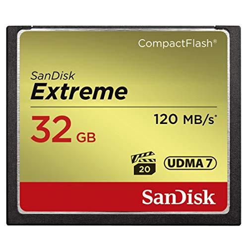 Carte Mémoire CompactFlash SanDisk Extreme 32 Go UDMA7 avec une Vitesse de Lecture Allant jusqu'à 120 Mo/s (SDCFXSB-032G-G46)