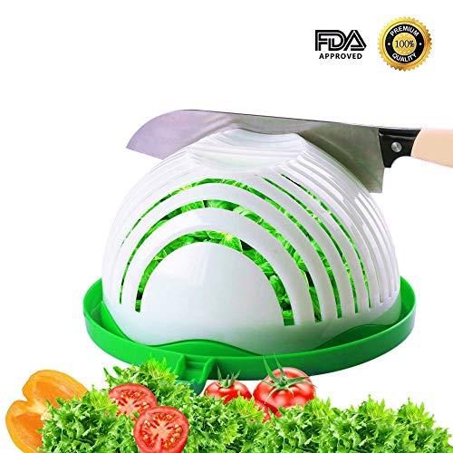Home Holic Essoreuse à Salade,Salad Cutter Bowl,Salade Coupeur Bol,Salade de Fruit Salad Maker pour Les Légumes,Coupe-Fruits (Vert)