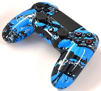 Blue Splatter PS4 Rapid Fire Modded Controller for COD Black Ops3, Infinity Warfare, AW, Destiny, Battlefield: Quick Scope, Drop Shot, Auto Run, Sniped Breath, Mimic, More