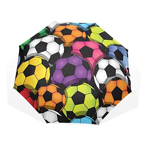 GUKENQ Paraguas de Viaje Colorido de fútbol Ligero Anti UV Paraguas de Lluvia para Hombres Mujeres y niños, Paraguas Plegable Resistente al Viento Compacto