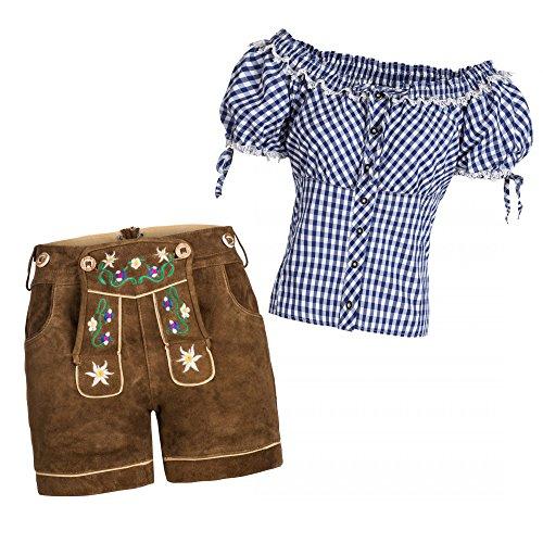 Gaudi-Leathers Damen Set Lederhose k bunte Blümchen Stickerei hellbraun 42 + Carmenbluse Blau 42